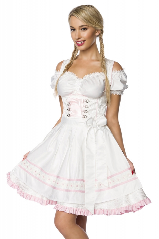 luxus dirndl mit sch rze aus brokat wei rosa oktoberfest trachtenkleid ebay. Black Bedroom Furniture Sets. Home Design Ideas