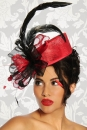 Designer-Hut / Fascinator rot/schwarz