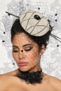 Designer-Mini-Hut / Fascinator creme/schwarz